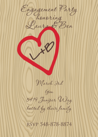 initials tree engagement party invitations