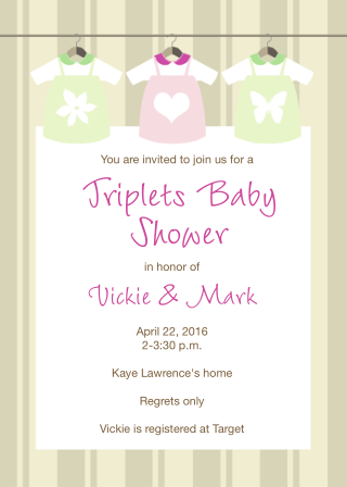 Twins and triplets baby shower invitations new selections spring 2018 triplet baby shower invitations filmwisefo Choice Image