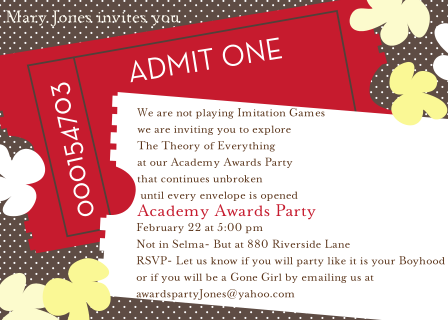 Academy Awards Party Invitations and Oscar invitations NEW – Oscar Party Invitations