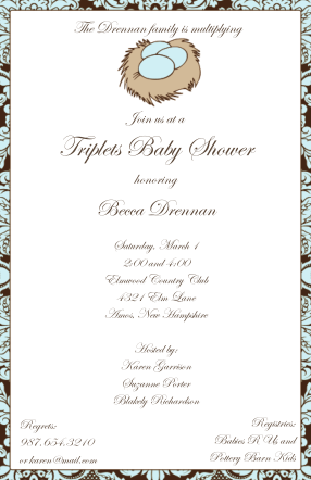 Twins baby shower invitations and triplets triplets baby shower invitations filmwisefo