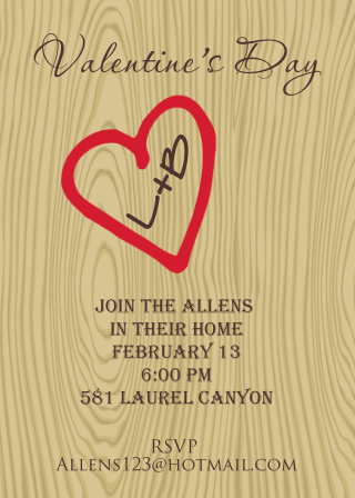 Valentine's Day party invitations initials in tree